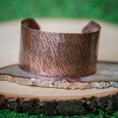 Oxidized Rustic Bark Copper Cuff bracelet