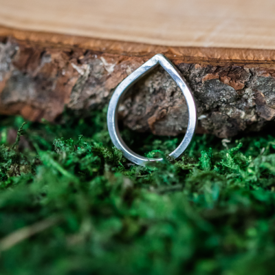 Sterling silver free-form water drop ring