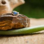 Darkened Welo Opal Drop Ring